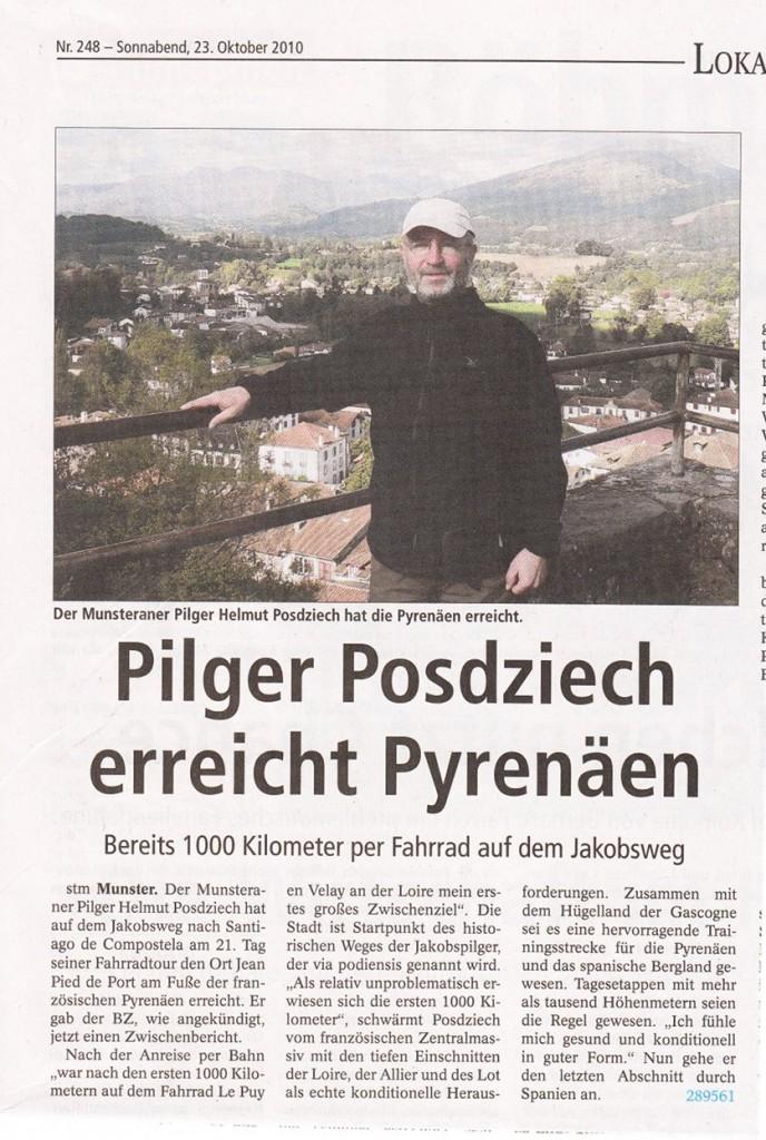 Zweiter Presse Artikel über Helmuts Tour in der Böhme-Zeitung